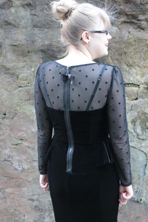 M&S velvet polka dot peplum dress