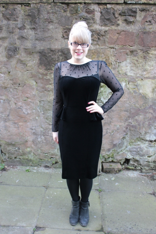 M&S velvet polka dot peplum dress