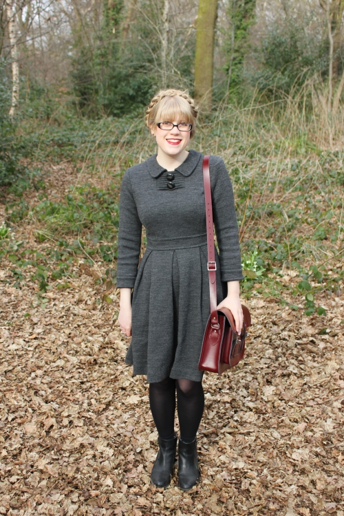 Orla Kiely grey wool dress with collar