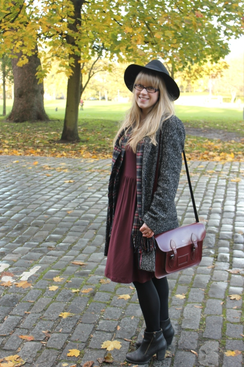 Marks & Spencer burgundy fit and flare dress