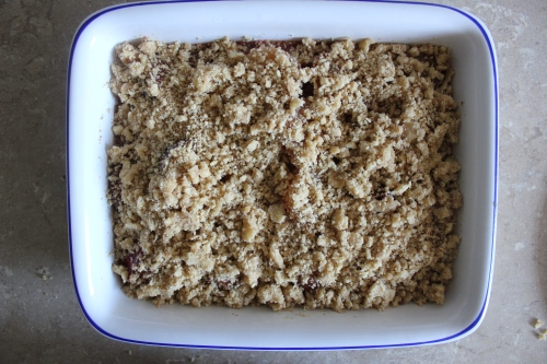 Plum, honey and rosemary crumble
