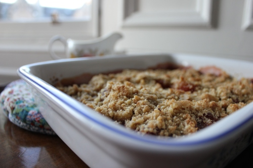 Plum, honey and rosemary crumble