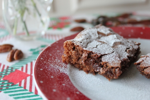 Christmas chocolate, pecan and cranberry brownies