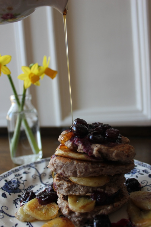 Banana, blueberry & pecan pancakes, A Modern Way to Eat
