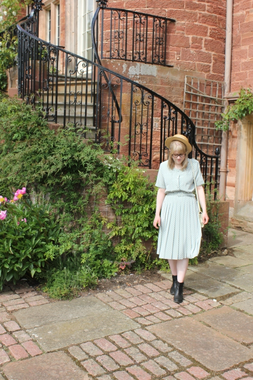 Vintage Mint Polka Dot Dress