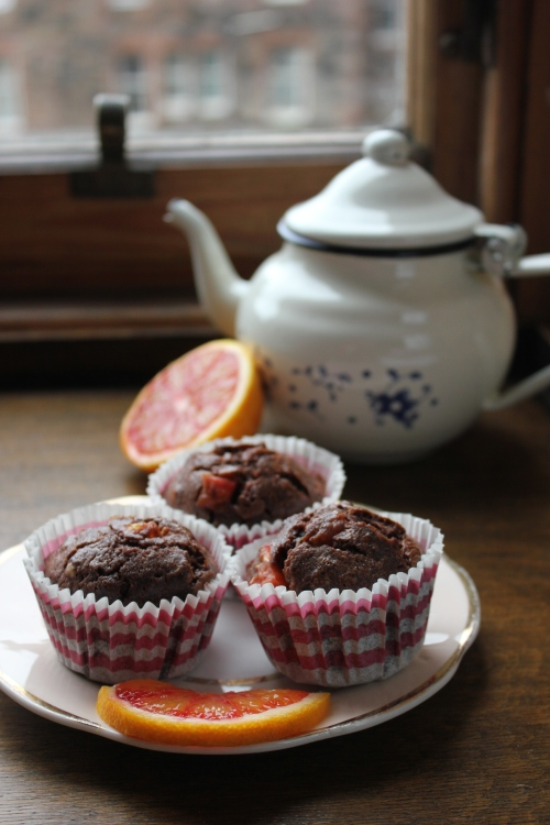 Blood Orange and Double Chocolate Rye Muffins