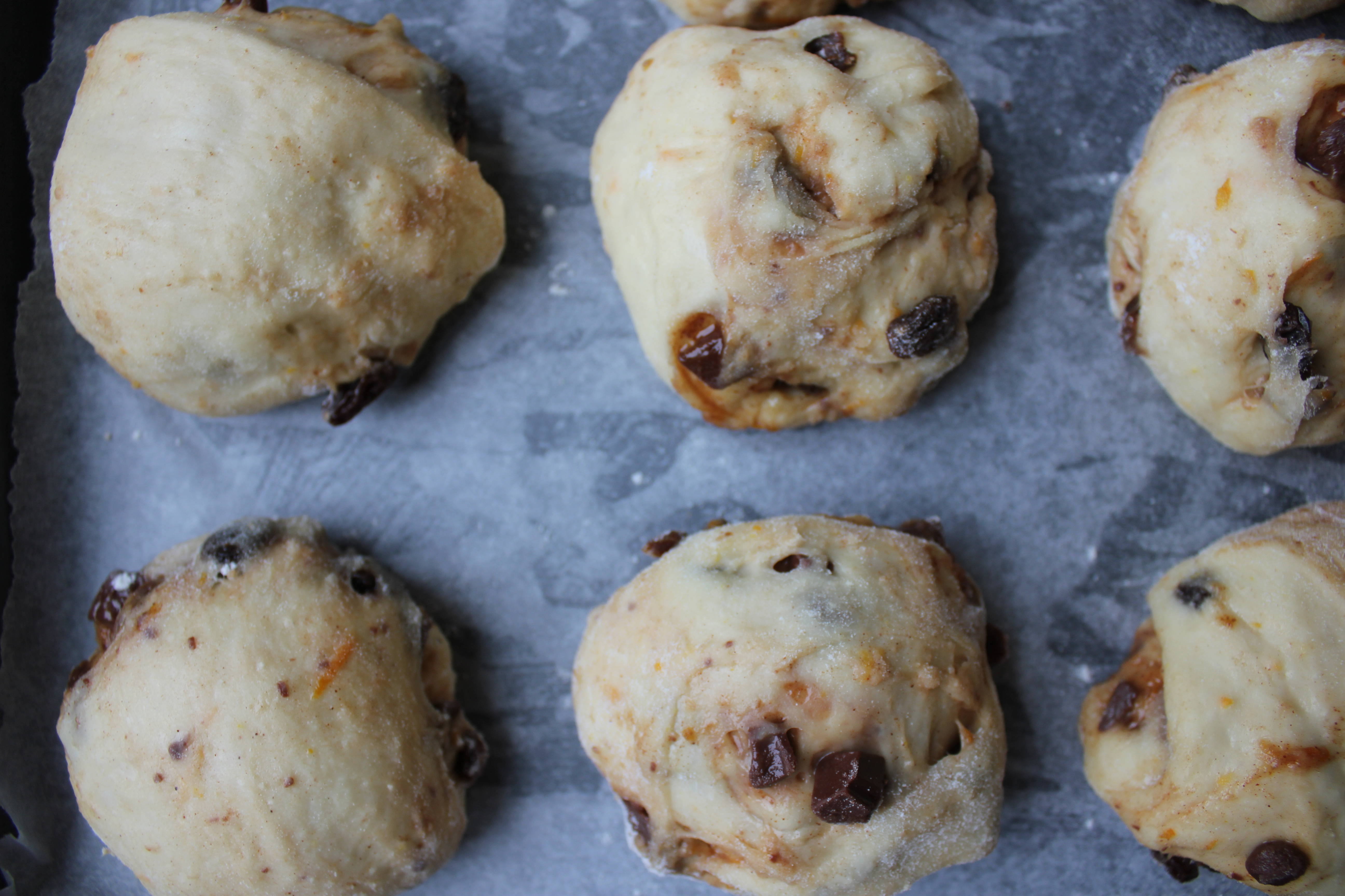 Chocolate and spice hot cross buns