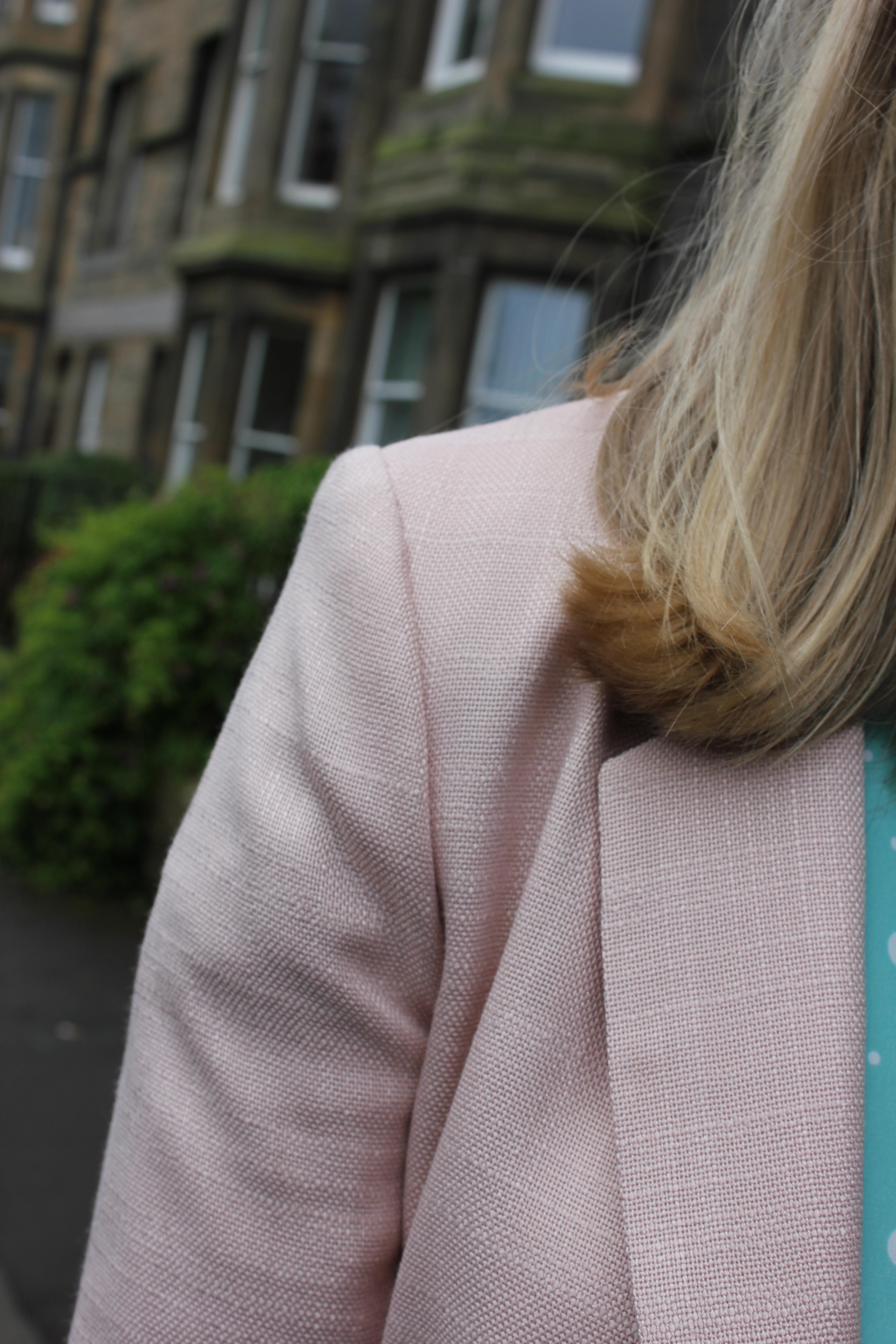Hobbs pink scalloped jacket